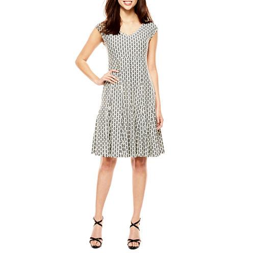 Danny & Nicole Sleeveless Geometric Fit & Flare Dress
