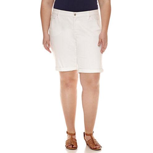 "a.n.a 10"" Denim Bermuda Shorts-Plus"