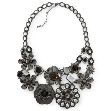 jcpenney.com | Mixit™ Black Crystal Flower Bib Necklace