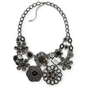Black Crystal Flower Bib Necklace