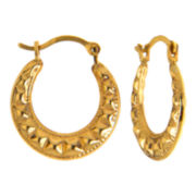 10K Gold Ripple Hoop Earrings
