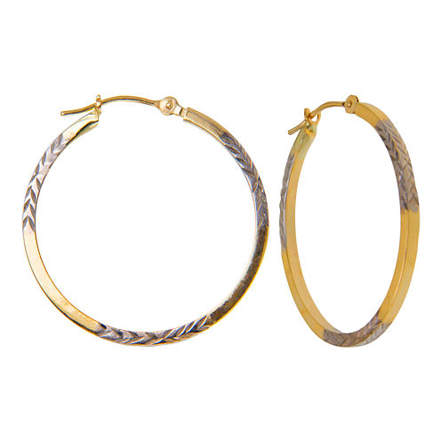 Diamond-Cut Hoop Earrings 2-Tone 10K Gold