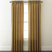 Faux-Silk Stripe Rod-Pocket Curtain Panel