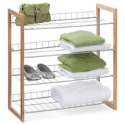 Honey-Can-Do® 4-Tier Wood and Metal Storage Shelf