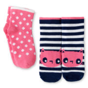 Okie Dokie 2-pk. Cat Socks - Girls