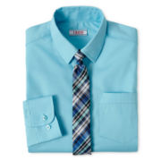 IZOD® Long-Sleeve Shirt and Plaid Tie Set - Boys 6-18