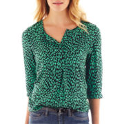 jcp™ Print 3/4-Sleeve Peasant Top