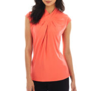 Worthington® Pleat-Neck Crossover Top