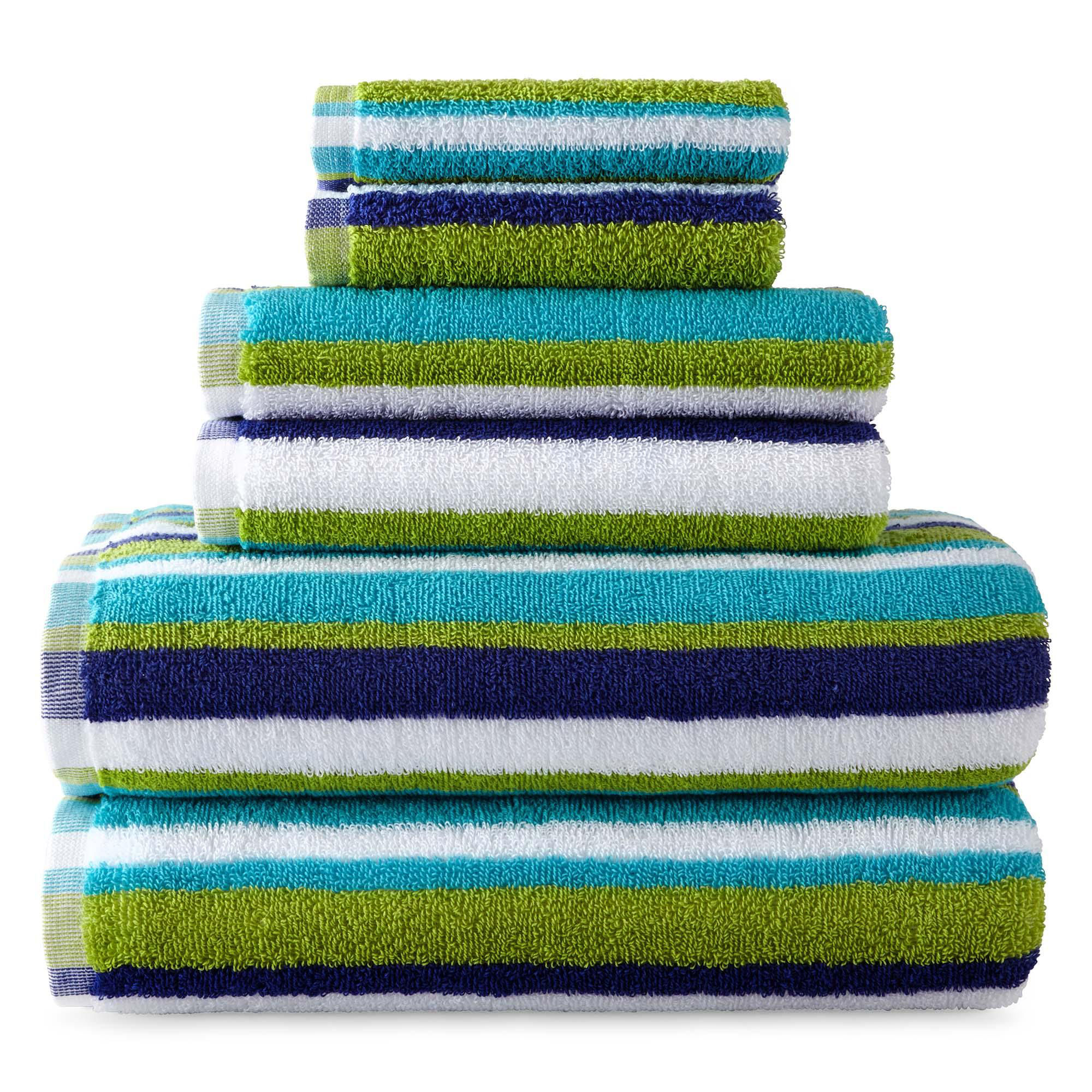 Jcp Home Collection Home Striped Bath Towels Green Blue