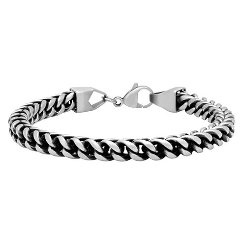 Mens 8.5 Inch Stainless Steel Matte Black IP Finish Link Bracelet
