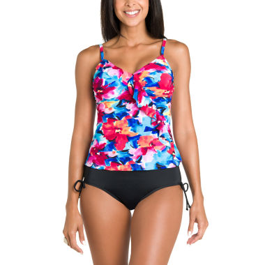 jcpenney.com | Jamaica Bay® Pretty Pleats Diagonal Ruffle Tankini Or Adjustable Side Brief