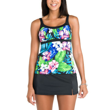 jcpenney.com | Jamaica Bay® Vintage Floral Framed Peasant Tankini or Shaping Tricot Swim Skirt