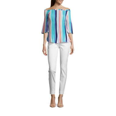 jcpenney.com | Worthington 3/4 Sleeve Off-Shoulder Pleat Blouse and Slim Fit Ankle Pant