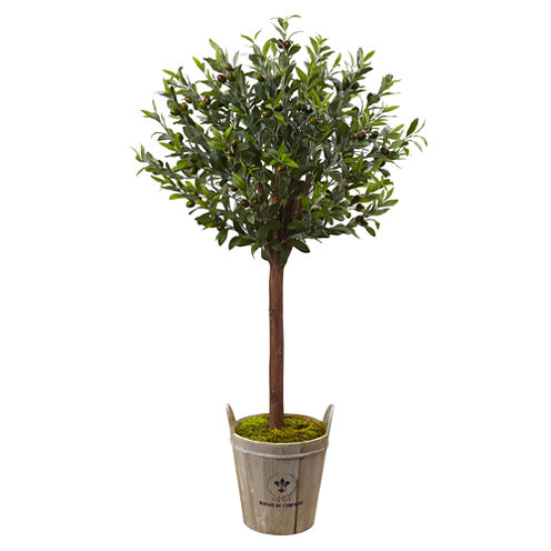 4.5' Olive Topiary Artificial Plant