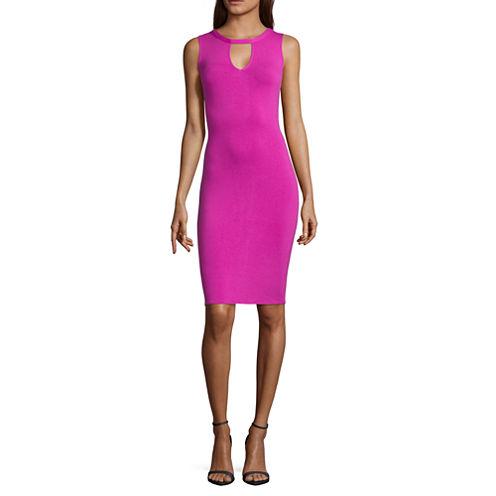 Belle + Sky High Neck V Cut Bodycon Dress