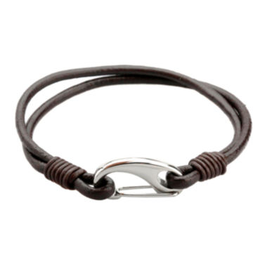 jcpenney.com | Mens Brown Leather and Stainless Steel Bracelet
