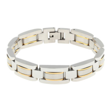 jcpenney.com | Mens Stainless Steel with Gold-Tone IP Link Bracelet