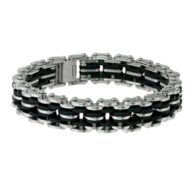 jcpenney.com | Mens Stainless Steel and Black Rubber Motorcycle Bracelet