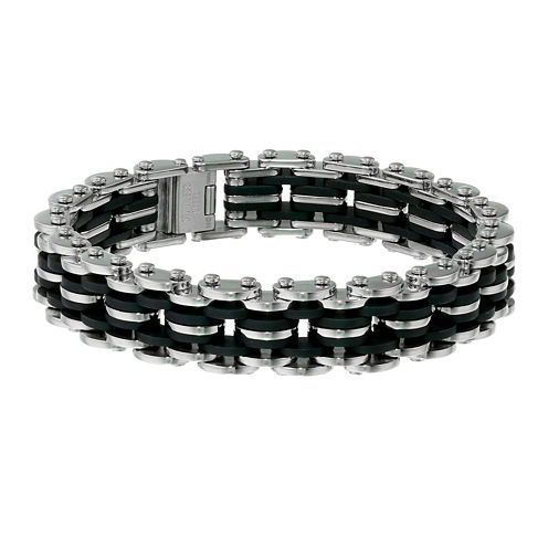 Mens Stainless Steel and Black Rubber Motorcycle Bracelet