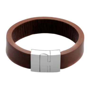 jcpenney.com | Mens Brown Leather and Stainless Steel Strap Bracelet