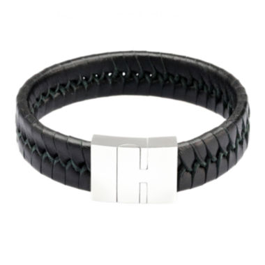 jcpenney.com | Mens Black Leather with Stainless Steel Bracelet