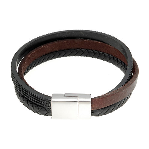 Mens Brown Leather and Stainless Steel Bracelet