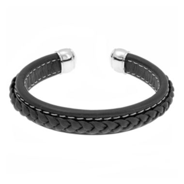jcpenney.com | Mens Black Braided Leather Cuff Bracelet