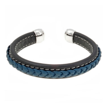 jcpenney.com | Mens Black and Blue Braided Leather Cuff Bracelet