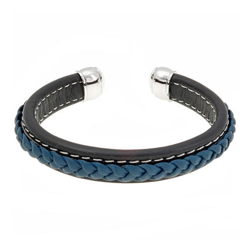 Mens Black and Blue Braided Leather Cuff Bracelet