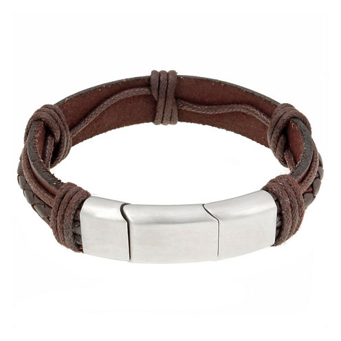 Mens Brown Leather Stainless Steel Bracelet