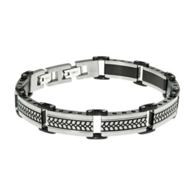 jcpenney.com | Mens Black IP Stainless Steel Chain Bracelet with Lock Extender