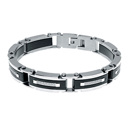 Mens Cubic Zirconia Two-Tone Stainless Steel Chain Bracelet