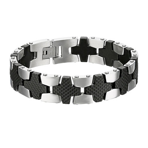 Mens Two-Tone Stainless Steel Chain Link Bracelet