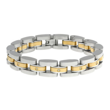 jcpenney.com | Mens 1/10 CT. T.W. Diamond Two-Tone Stainless Steel Link Bracelet
