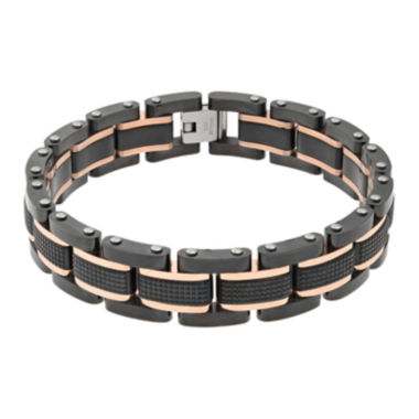 jcpenney.com | Mens Black IP Stainless Steel Textured Bracelet
