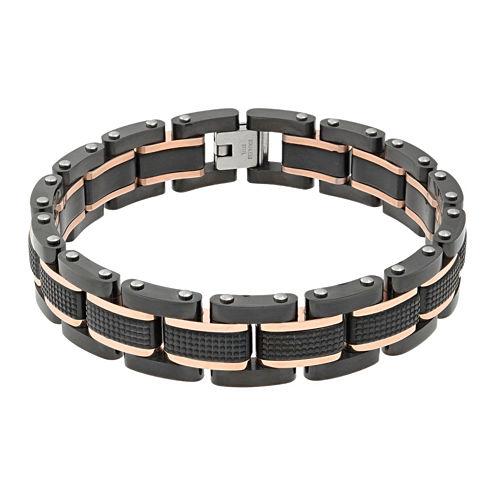 Mens Black IP Stainless Steel Textured Bracelet