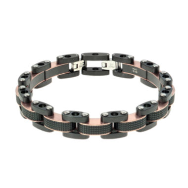 jcpenney.com | Mens Two-Tone Stainless Steel Textured Bracelet with Lock Extender