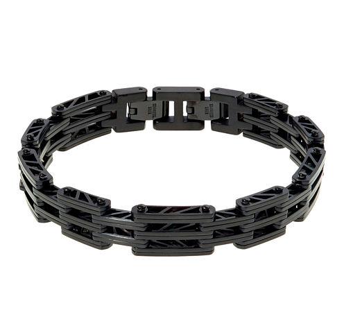 Mens Black IP Stainless Steel Bridge Bracelet with Lock Extender