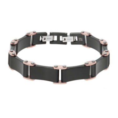 jcpenney.com | Mens Black IP Plated Stainless Steel Bracelet with Rose IP Accents and Lock Extender