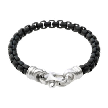 jcpenney.com | Mens Black IP Stainless Steel Round Box Chain Bracelet with Fancy Clasp
