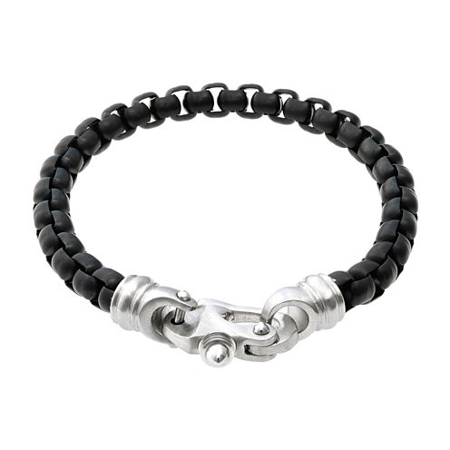Mens Black IP Stainless Steel Round Box Chain Bracelet with Fancy Clasp