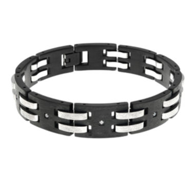 jcpenney.com | Mens Cubic Zirconia Black Stainless Steel Chain Bracelet