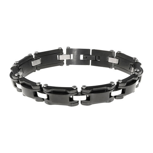 Mens Black IP Stainless Steel Chain Bracelet
