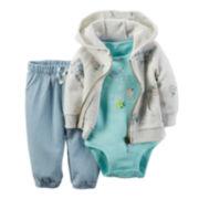 Carter's® 3-pc. Hoodie and Pants Set - Baby Girls newborn-24m