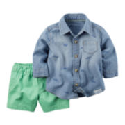 Carter's® Long-Sleeve Chambray Shirt and Shorts Set - Baby Boys newborn-24m