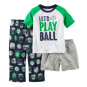 Carter's® Short-Sleeve Race Car 3-pc. Pajama Set - Toddler Boys 2t-5t