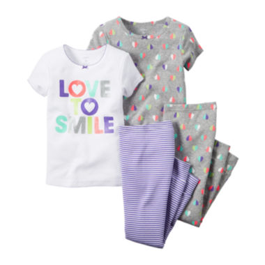 jcpenney.com | Carter's® Smile 4-pc. Pajama Set - Baby Girls newborn-24m