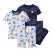 Carter's® 4-pc. Sports Cotton Pajama Set - Baby Boys newborn-24m