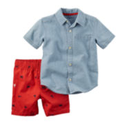 Carter's® Short-Sleeve Chambray Shirt and Shorts Set - Baby Boys newborn-24m