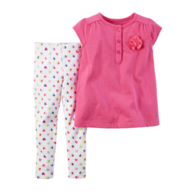 jcpenney.com | Carter's® Cap-Sleeve Rosette Top and Leggings Set - Baby Girls newborn-24m